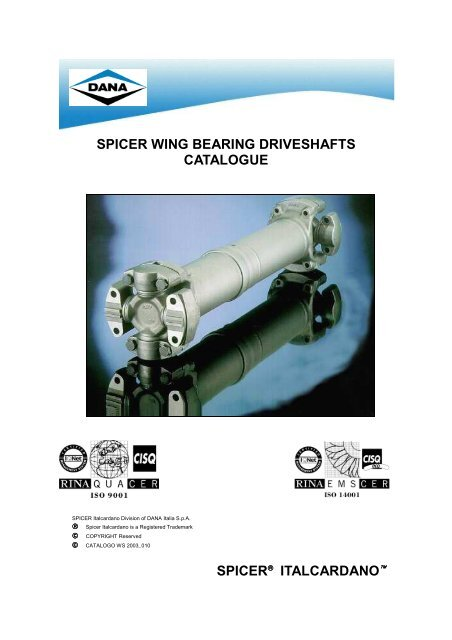 spicer wing bearing driveshafts catalogue