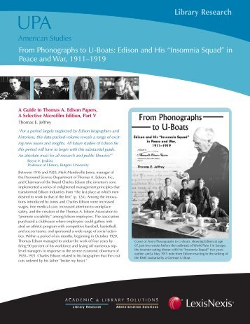 Library Research - The Thomas A. Edison Papers - Rutgers, The ...