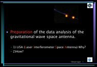 Preparation of the data analysis of the gravitational wave space - LUTh