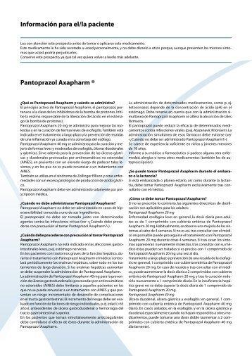 Información para el/la paciente Pantoprazol Axapharm ®