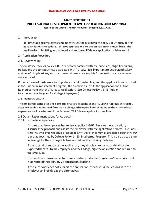 Professional Development Leave Application and Approval