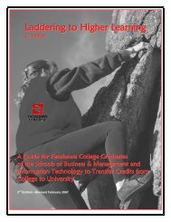 Laddering to Higher Learning - Fanshawe College