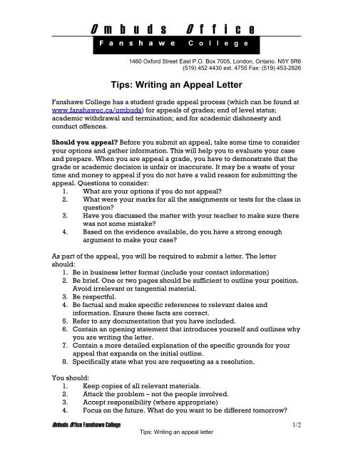 Sample Appeal Letter Fanshawe College