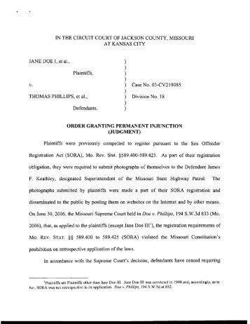 ORDER GRANTING PERMANENT INJUNCTION (JUDGMENT)