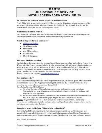 öamtc juristischer service mitgliederinformation nr.29 - Heim