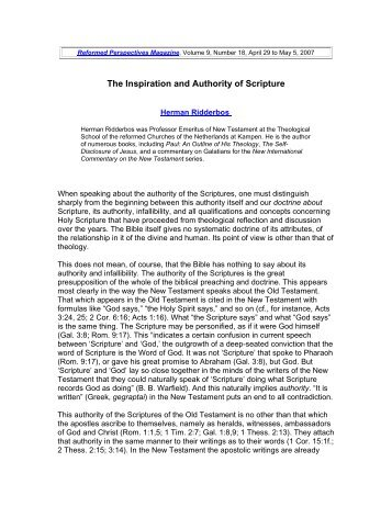 The Inspiration and Authority of Scripture - Third Millennium Ministries