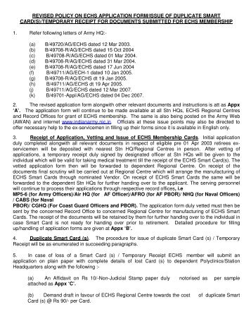 Revised Application Form For Echs Smart Card  Indian Army