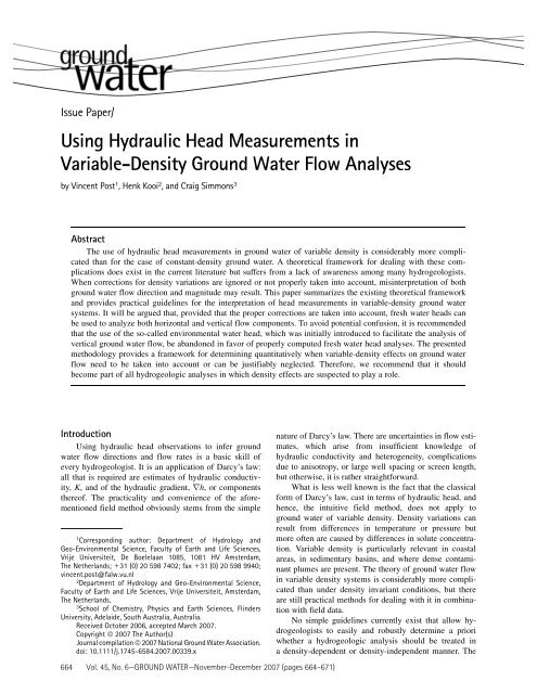 Using Hydraulic Head Measurements in Variable ... - Info Ngwa