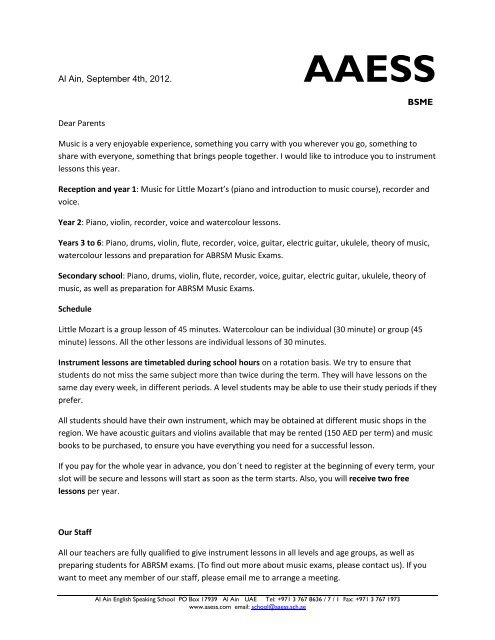 Letter to Parents - Al Ain English Speaking School AAESS