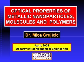 Optical Properties of Materials - Clemson University