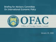 Briefing for Advisory Committee On International Economic Policy
