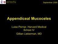 Appendiceal Mucoceles - Lieberman's eRadiology Learning Sites