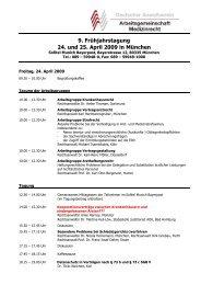 9. Frühjahrstagung 24. und 25. April 2009 in München