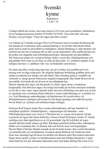 Svenskt kynne - Glocalnet