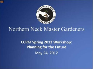 Northern Neck Master Gardeners - Center for Coastal Resources ...