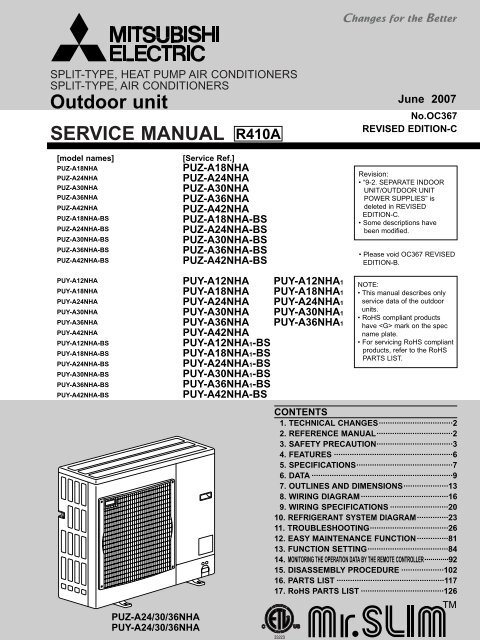 Tech: PU(Y,Z) Outdoor Models Only - Mitsubishi Electric