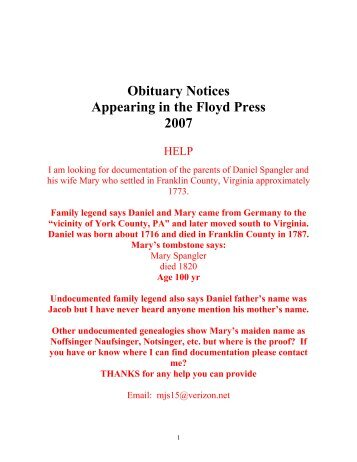Obituary Notices Appearing in the Floyd Press 2007 - Genealogy.the ...