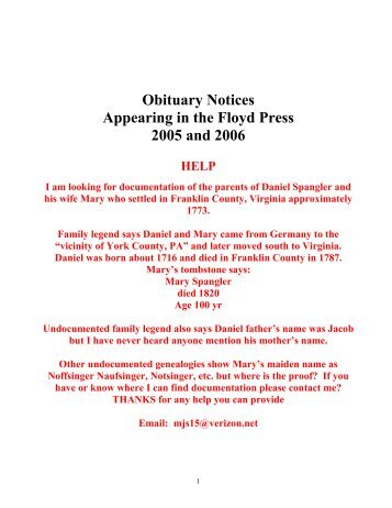 Obituary Notices Appearing in the Floyd Press 2005 and 2006
