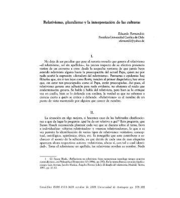 Relativismo, pluralismo y la interpretación de las culturas. III ...