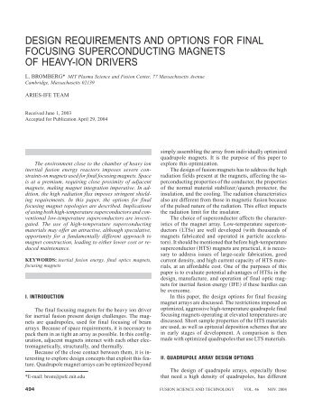 design requirements and options for final focusing superconducting ...
