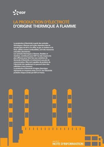 La production d'électricité d'origine thermique à flamme - Energie EDF