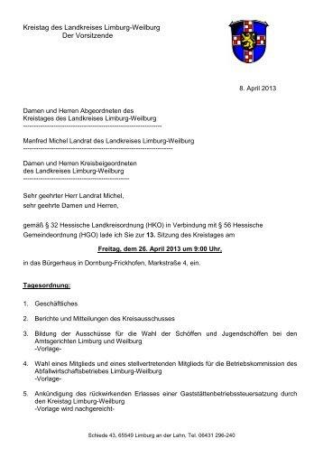 kommenden Kreistagssitzung - Erwerbsloseninitiative Limburg ...