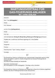 Muster-Wartungsvertrag für Gasheizungsanlagen