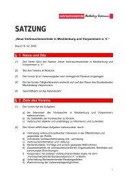 SATZUNG - Verbraucherzentrale Mecklenburg-Vorpommern e. V.