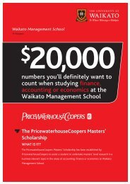 Scholarship WHAT IS IT? - Waikato Management School