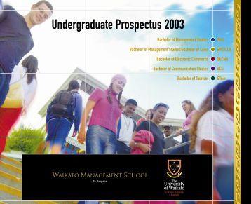 Undergraduate Prospectus 2003 - The University of Waikato
