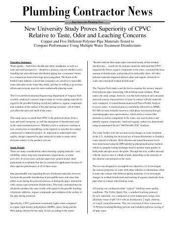 Study of CPVC Taste, Odor and Leach...