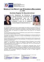 Newsletter Nr. 1 - AHK Bulgarien