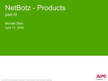 Netbotz Sensors - APC