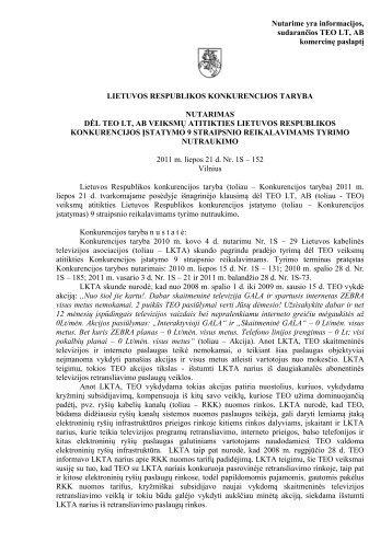 LIETUVOS RESPUBLIKOS KONKURENCIJOS TARYBOS - LR ...