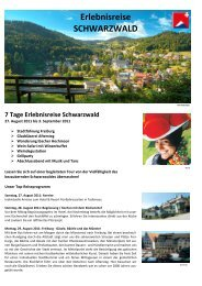 7 Tage Erlebnisreise Schwarzwald - APART HOLIDAYS AG