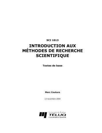 INTRODUCTION AUX MÉTHODES DE RECHERCHE SCIENTIFIQUE