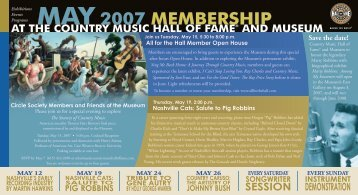 MAY 2007 MEMBERSHIP - Country Music Hall of Fame and Museum
