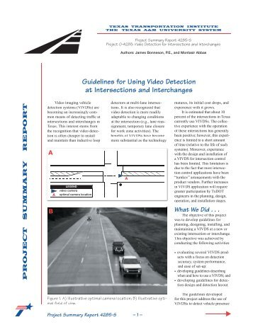 Guidelines for Using Video Detection at Intersections and ...