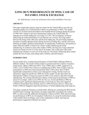 long run performance of ipos: case of istanbul stock exchange