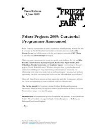 Frieze Projects 2009: Curatorial Programme ... - Frieze London
