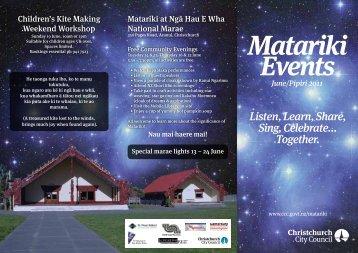 Matariki 2011 at Christchurch City Libraries