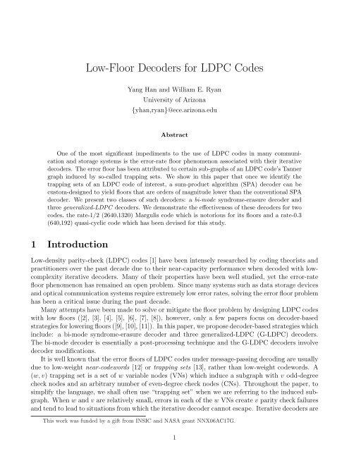 Low-Floor Decoders for LDPC Codes - University of Arizona