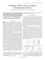 Nonbinary LDPC Codes for Optical Communication Systems