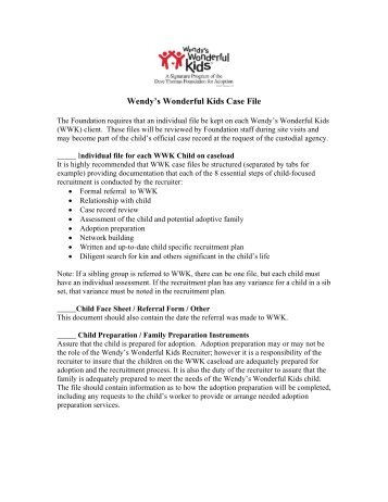 Wendy's Wonderful Kids Case File - Dave Thomas Foundation For ...