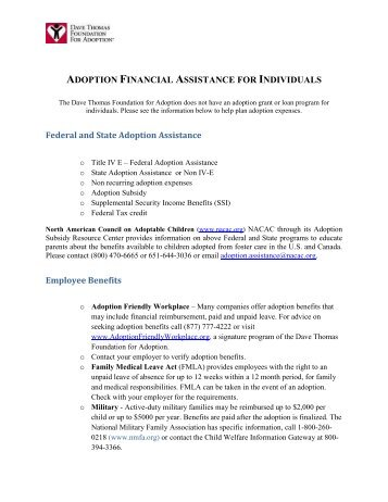 financial assistance list - Dave Thomas Foundation For Adoption
