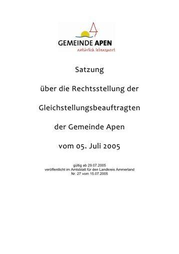 Satzung über die Rechtsstellung der ... - Gemeinde Apen
