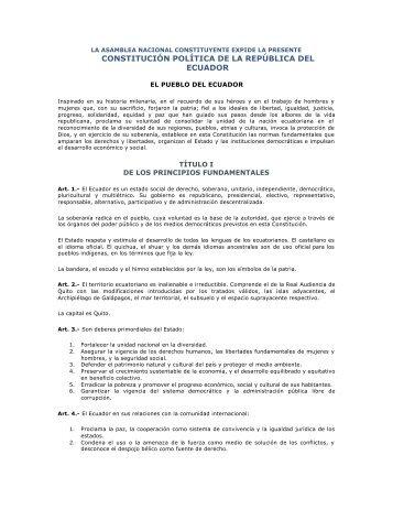 CONSTITUCIÓN POLÍTICA DE LA REPÚBLICA DEL ECUADOR