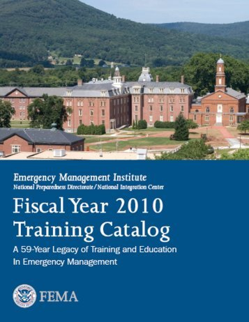 Emergency Management Institute Catalog of Activities 2009-2010