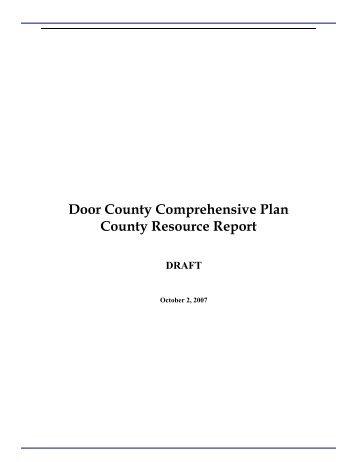 Door County Comprehensive Plan County Resource Report DRAFT