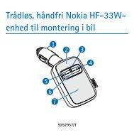 Trådløs, håndfri Nokia HF-33W- enhed til montering i bil